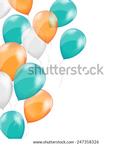 Multicolored inflatable air balls on white background - stock photo