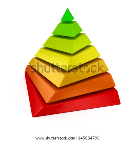 Multicolored layered pyramid on the white background - stock photo