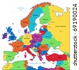 Multicolored map of Europe. Raster version. Vector version is also available. - stock photo