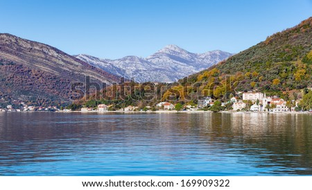 Multicolored mountains. Bay of Kotor. Montenegro.