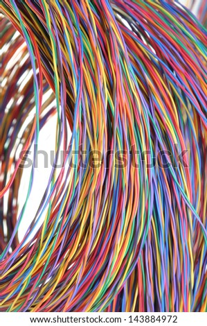 Multicolored network computer cables isolated on white background - stock photo