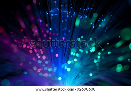 Multicolored optical fibers - stock photo