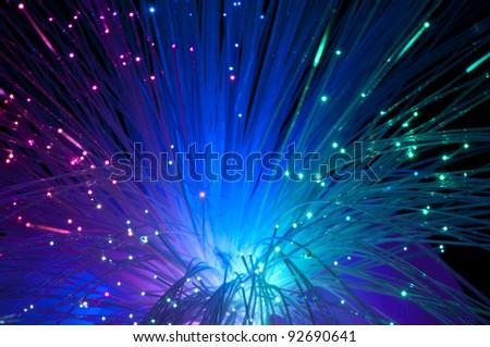 Multicolored optical fibers - stock photo