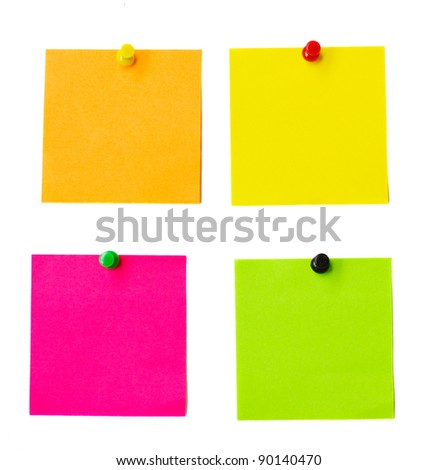 multicolored paper stickers isolated on white background - stock photo