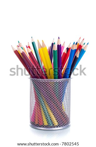Multicolored pens on white background