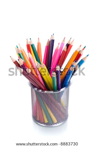 Multicolored pens on white background - stock photo