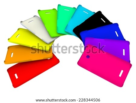 Multicolored plastic covers for your phone - stock photo