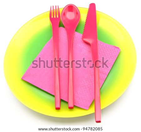 Multicolored plastic dinnerware