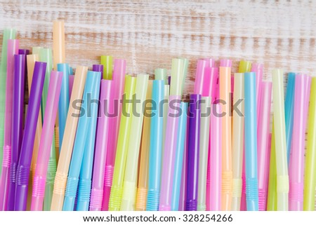 Multicolored plastic drinking straws