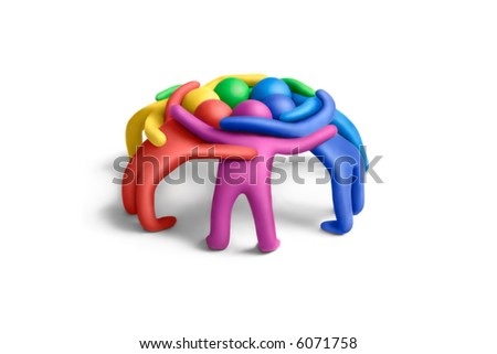 Multicolored plasticine embraced  human figures concluding a treaty - stock photo