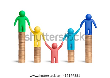 Multicolored plasticine human figures on a stacks of coins - stock photo