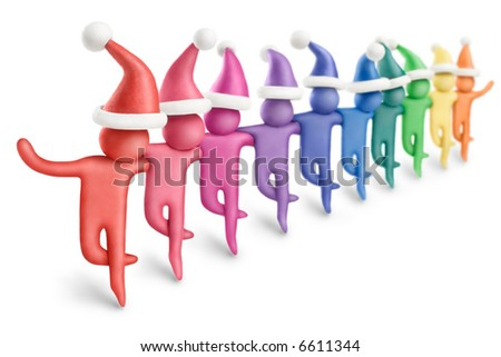 Multicolored plasticine Santa figures dancing in a row