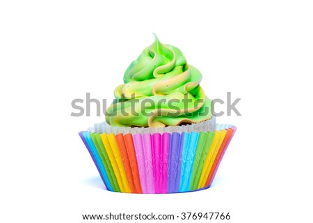 Multicolored rainbow cupcake