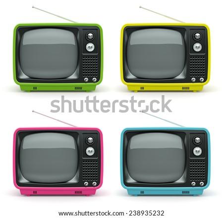 Multicolored retro TV on white background  - stock photo