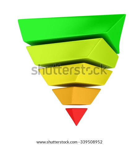 Multicolored reversed layered pyramid on the white background. It can be used in two ways: to demonstrate energy efficiency concept or Maslow's hierarchy of needs - stock photo