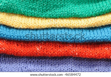 multicolored rows of khitted - stock photo