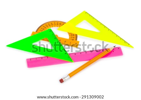 Multicolored rulers and pencil isolated on white background - stock photo