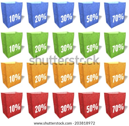 Multicolored shopping bags, totes, tote bags, natural, ecological paper material, sales slogans, keywords, print