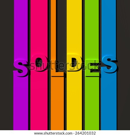 Multicolored sign on black background with the word sales in French - stock photo