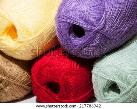 Multicolored skeins of yarn background