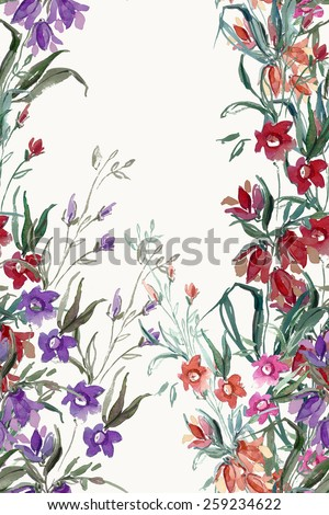 Multicolored small flowers of the field seamless pattern - stock photo