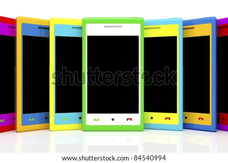 Multicolored smartphones with empty black screen