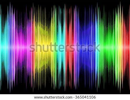 Multicolored sound equalizer on black display.Digitally generated image. - stock photo