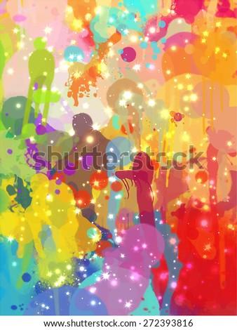 Multicolored sparkles brush strokes background. Raster version - stock photo