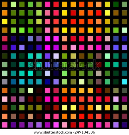 Multicolored square blocks on a black background. - stock photo