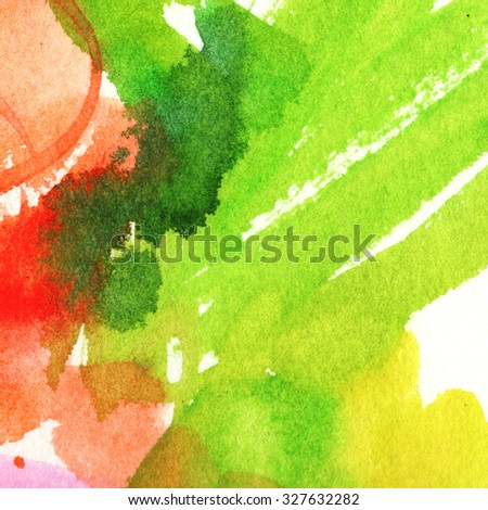 multicolored stain dark green, green, red, orange, watercolor painting - stock photo