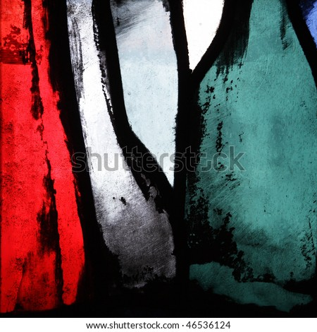 Multicolored stained glass, may be used as background - stock photo