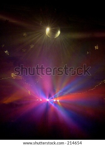 Multicolored Strobe Lights on Mirror Ball at Party - stock photo