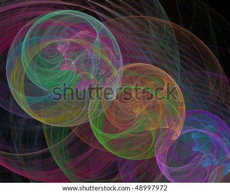 Multicolored swirls on black background