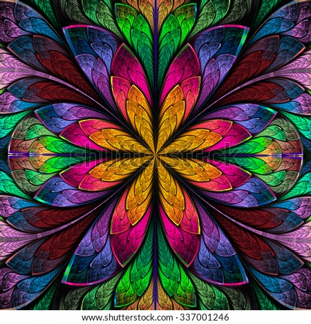 Multicolored symmetrical fractal flower in stained-glass window style. Artwork for creative design, art and entertainment.  - stock photo