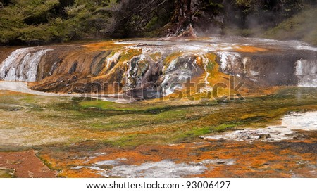 Multicolored terraces are one of the attractions of the Waimangu valley, near Rotorua - stock photo