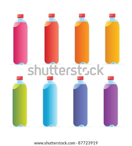 Multicolored water bottles. Raster version. Vector version is also available. - stock photo