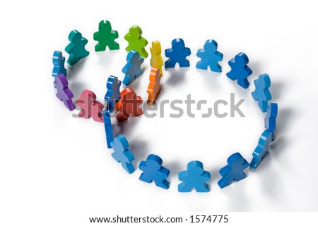 Multicolored wooden people illustrating a business concept - networking or teamwork. - stock photo