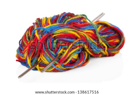 Multicolored woollen yarn or cashmere isolated on white background