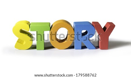 Multicolored word story made of wood. White background - stock photo