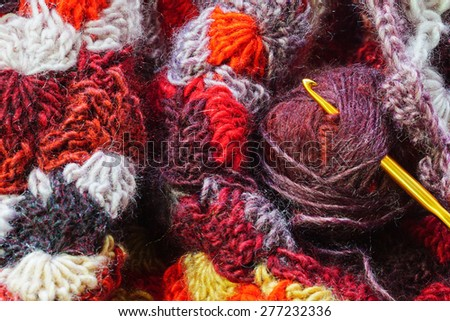 Multicolored yarn texture - stock photo