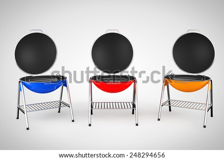 Multicolour Closeup Barbecue Grills on a white background