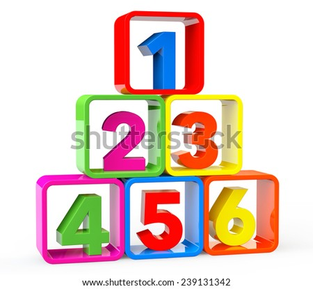 Multicolour cubes as stand with 123 Numbers on a white background - stock photo