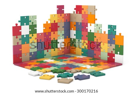 Multicolour Puzzle Wall and Floor Construction on a white background - stock photo