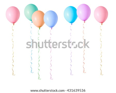 Multicoloured air flying balloons isolated on white background