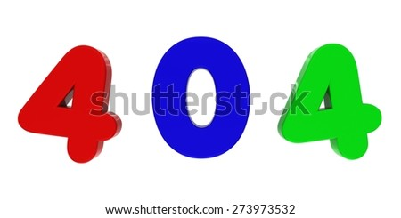 Multicoloured 404 Fridge Magnet Letters - stock photo
