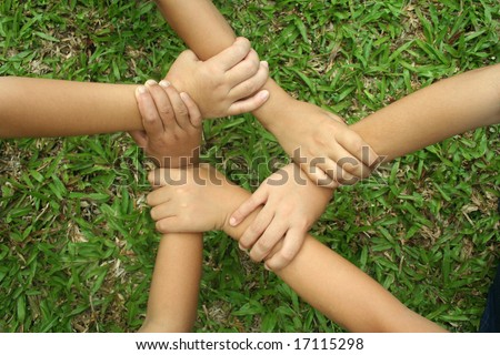 Multicultural hands - stock photo