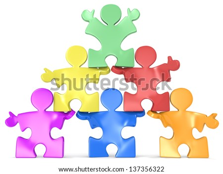 Multicultural Human Pyramid. Puzzle people x 6 in Pyramid Formation. - stock photo