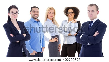 multicultural team of young business people isolated on white background - stock photo