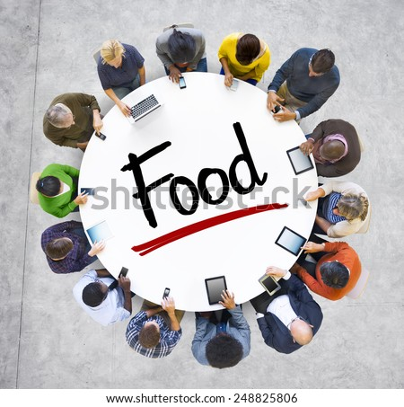 Multiethnic Group of Business People with Food Concept - stock photo