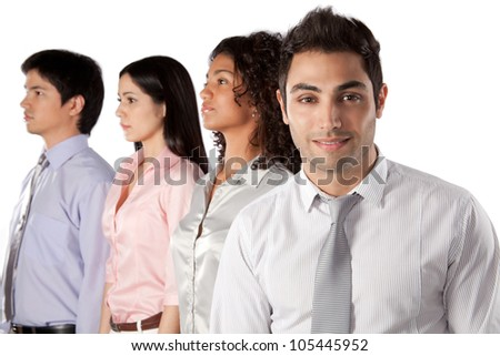 Multiethnic group of businesspeople isolated on white background.